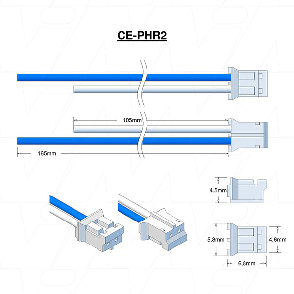 JST TYPE PHR-2, Leads BLUE=165mm WHITE=105mm AWG24 STRIP & TIN.