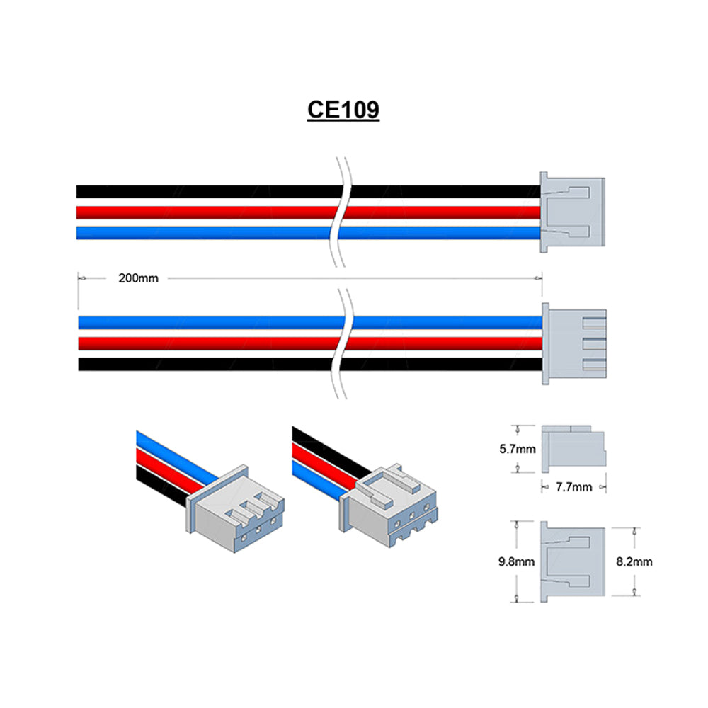 JST Type XHP-3 24AWG Black 200mm, Red 200mm & Blue 200mm Strip & Tin 3mm