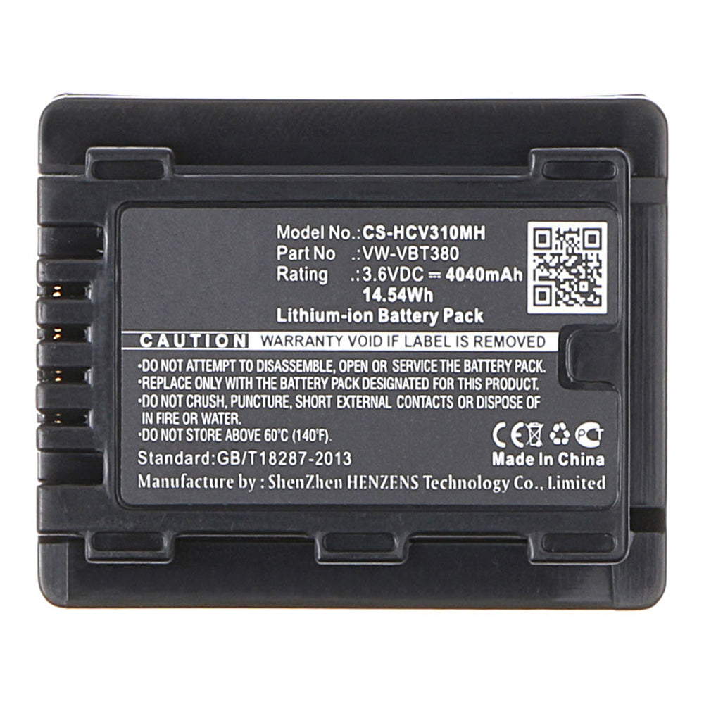 Stryka Battery to suit PANASONIC VW-VBT380 3.6V 4040mAh Li-ion
