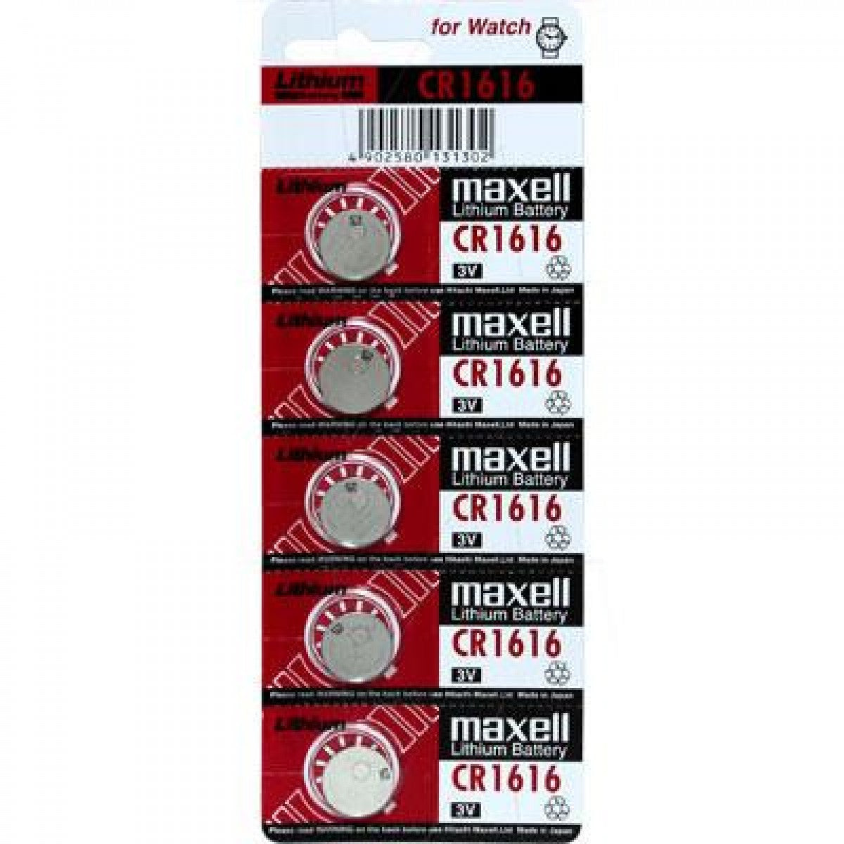 Maxell CR1616 3V Lithium Coin Cell Blister of 5