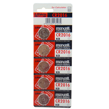 Maxell CR2016 3V Lithium Coin Cell Blister of 5