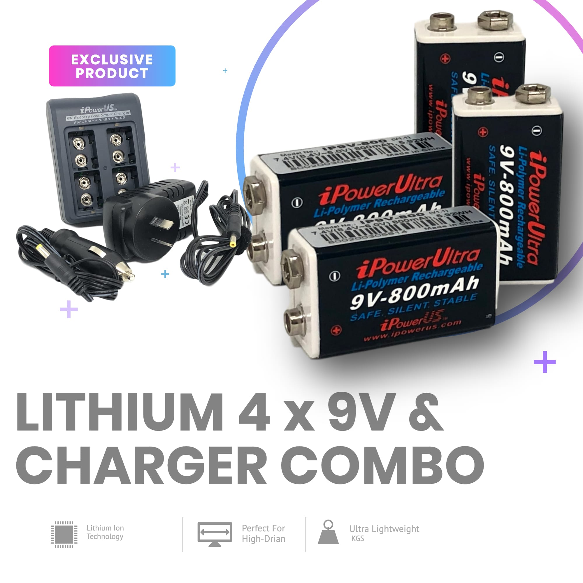 iPOWER 9V Combo Comes With 4 x 9V and 1 x 9V Charger