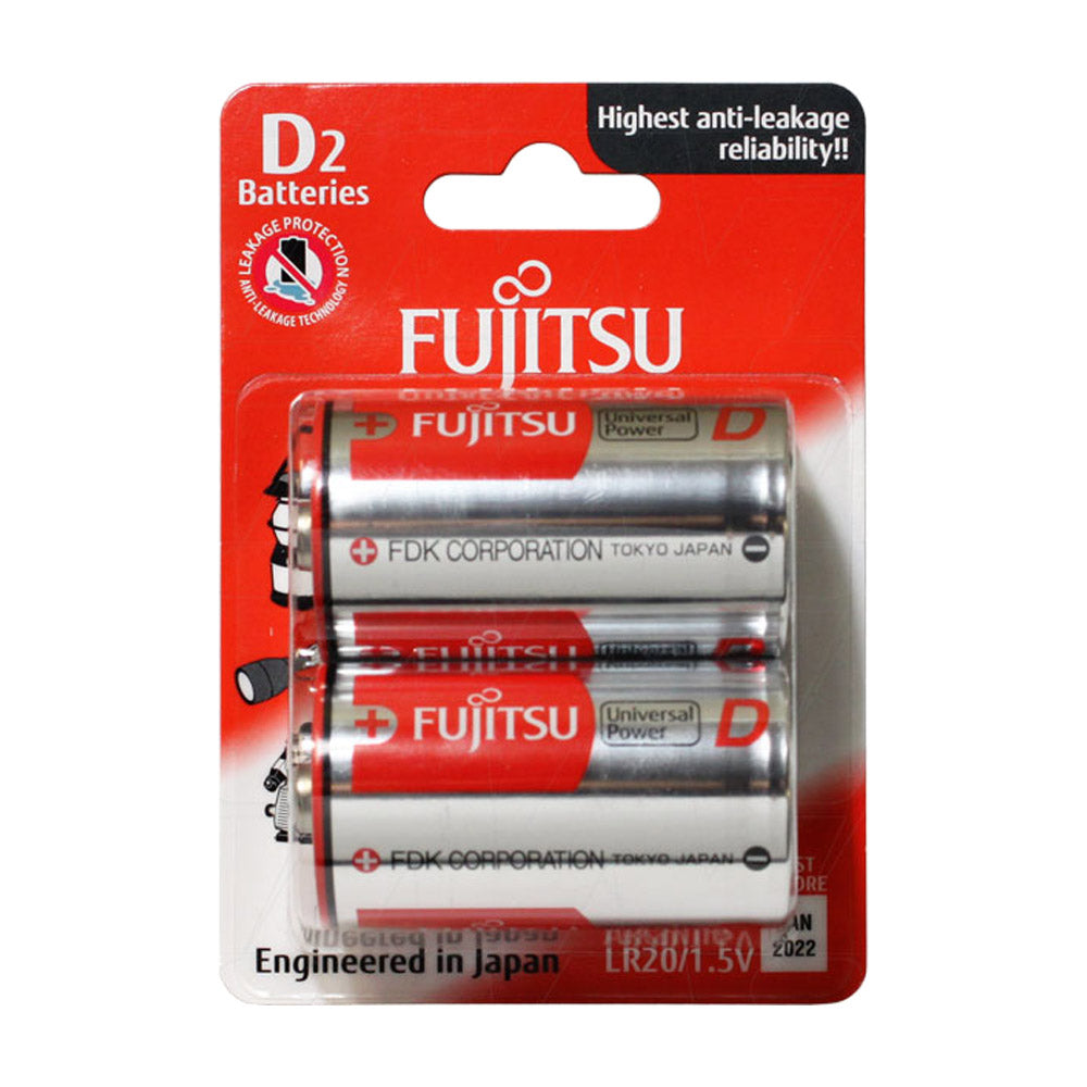 Fujitsu Universal Power 1.5V D Alkaline Blister of 2