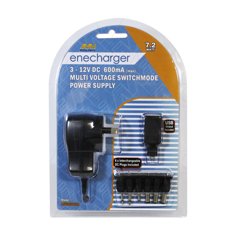 Enecharger 7.2W 600mA Power Supply 100-240VAC Input 3-4.5-5-6-7.5-9-12V DC Output