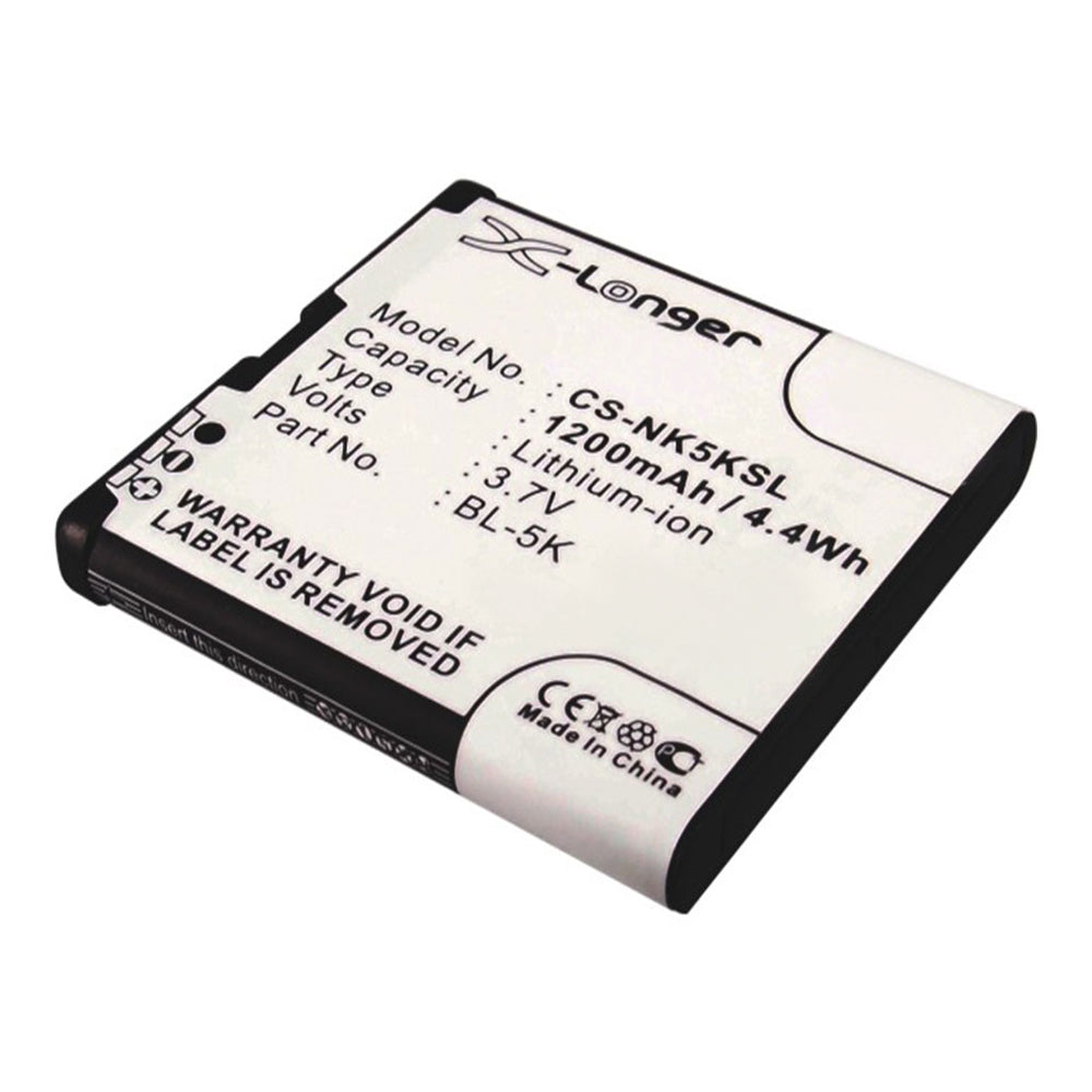Stryka mobile phone battery for NOKIA BL-5K 3.7V 1200mAh Li-ion