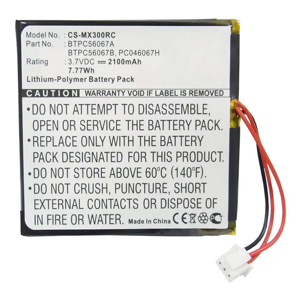 Stryka Battery to suit CRESTRON-UNIVERSAL MX3000 Remote 3.7V 2100mAh Li-Pol