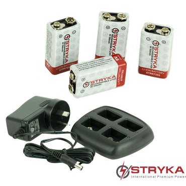 Stryka 4 x 9V Lithium & Charger Combo