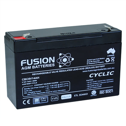 Fusion 6V 14Ah Deep Cycle AGM Battery