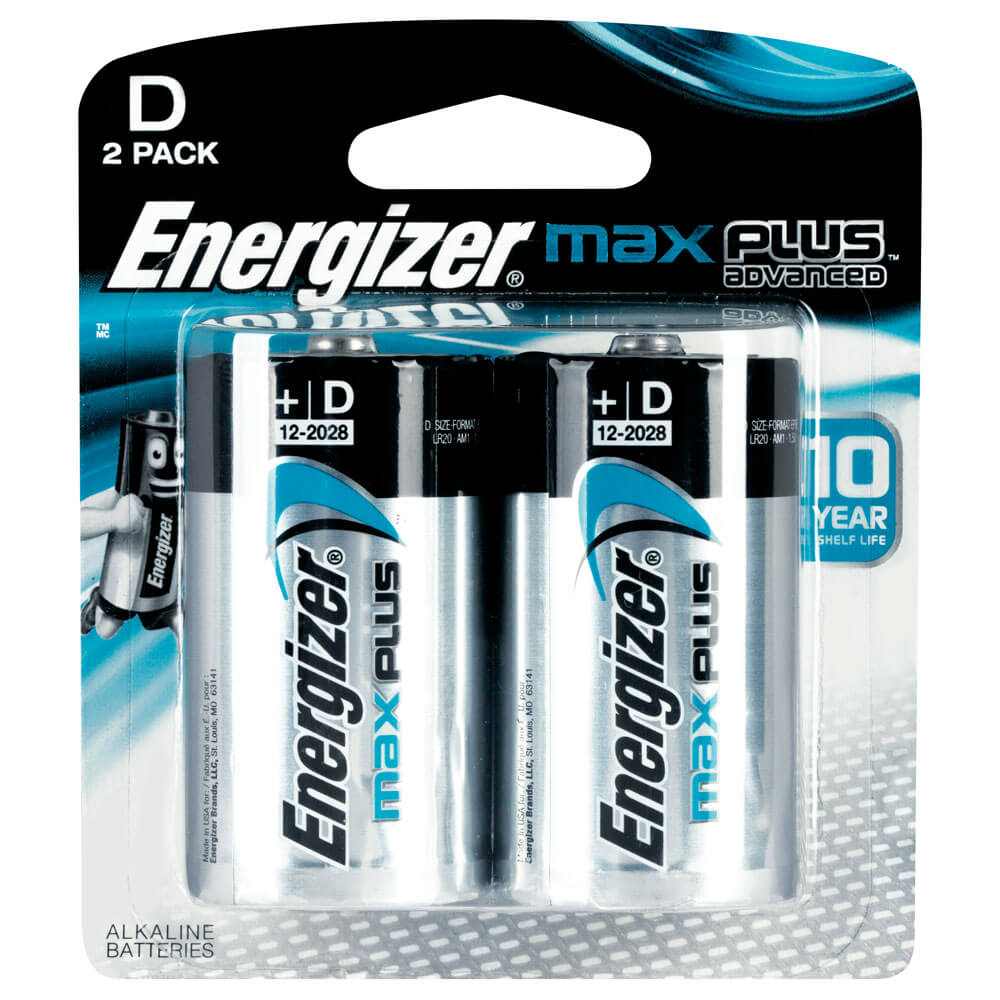 Energizer MAX Plus Advanced D Alkaline Batteries 2 Pack