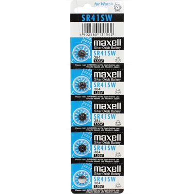 Maxell SR41SW-384 low drain battery 5pk