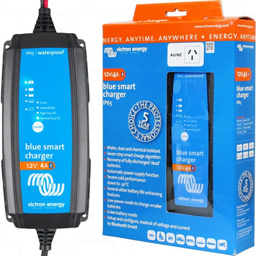 Blue Smart IP65 SLA-LiFePO4 Charger 12V 4A + Alligator Clips