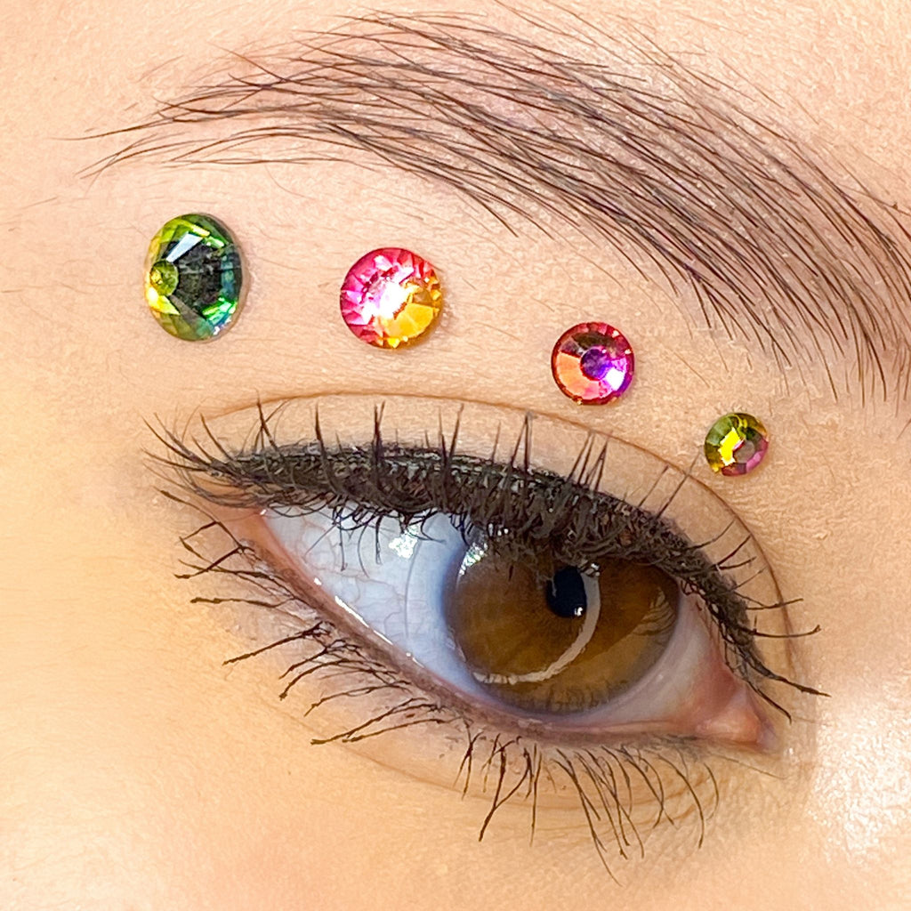 Rainbow Gems for makeup | Rainbow Rhinestones for makeup | Rainbow Swarovski Rhinestones | Rainbow Flatback Rhinestones | Euphoria Face Jewels | Glass Rhinestones | High Quality Gems