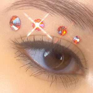 Holographic Light Orange Gems for makeup | Holographic Light Orange Rhinestones for makeup | Light Orange AB Swarovski Rhinestones | Light Orange AB Flatback Rhinestones | Euphoria Face Jewels | Glass Rhinestones | High Quality Gems