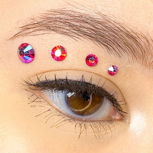 Holographic Red Gems for makeup | Holographic Red Rhinestones for makeup | Red AB Swarovski Rhinestones | Red AB Flatback Rhinestones | Euphoria Face Jewels | Glass Rhinestones | High Quality Gems