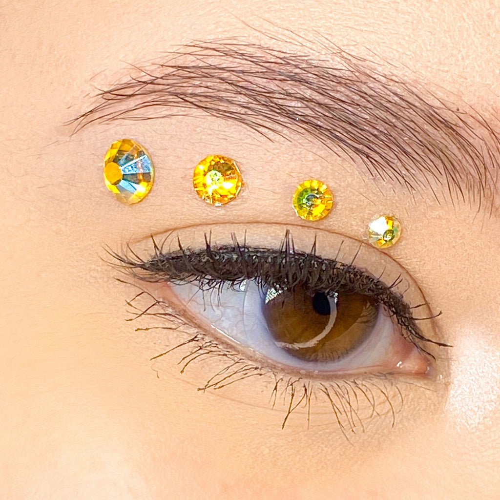 Holographic Yellow Gems for makeup | Holographic Yellow Rhinestones for makeup | Yellow AB Swarovski Rhinestones | Yellow AB Flatback Rhinestones | Euphoria Face Jewels | Glass Rhinestones | High Quality Gems