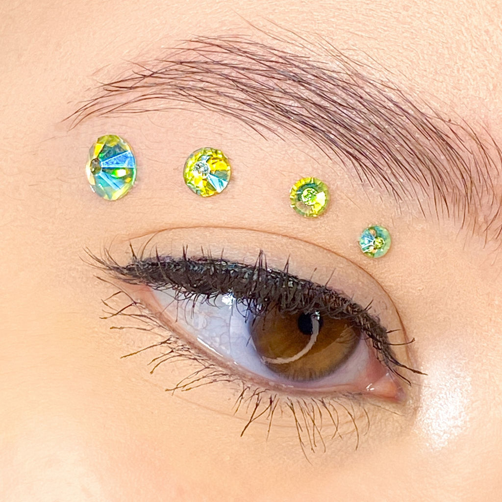 Holographic Light Green Gems for makeup | Holographic Light Green Rhinestones for makeup | Light Green AB Swarovski Rhinestones | Light Green AB Flatback Rhinestones | Euphoria Face Jewels | Glass Rhinestones | High Quality Gems