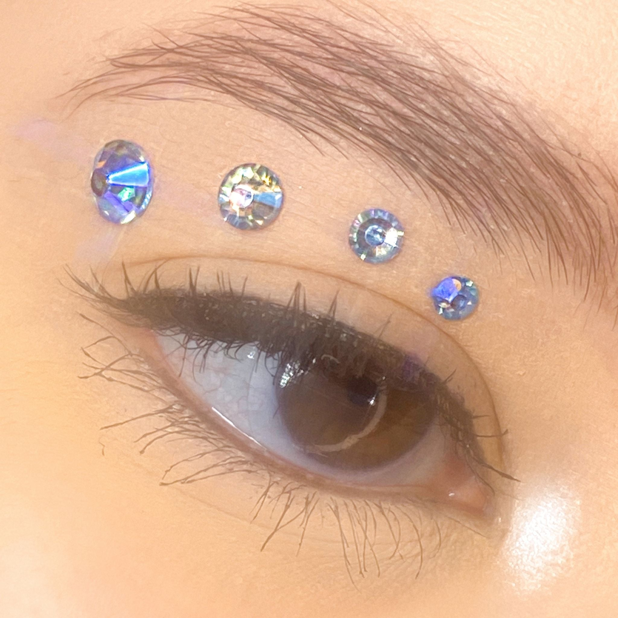 Holographic Light Blue Gems for makeup | Holographic Light Blue Rhinestones for makeup | Light Blue AB Swarovski Rhinestones | Light Blue AB Flatback Rhinestones | Euphoria Face Jewels | Glass Rhinestones | High Quality Gems
