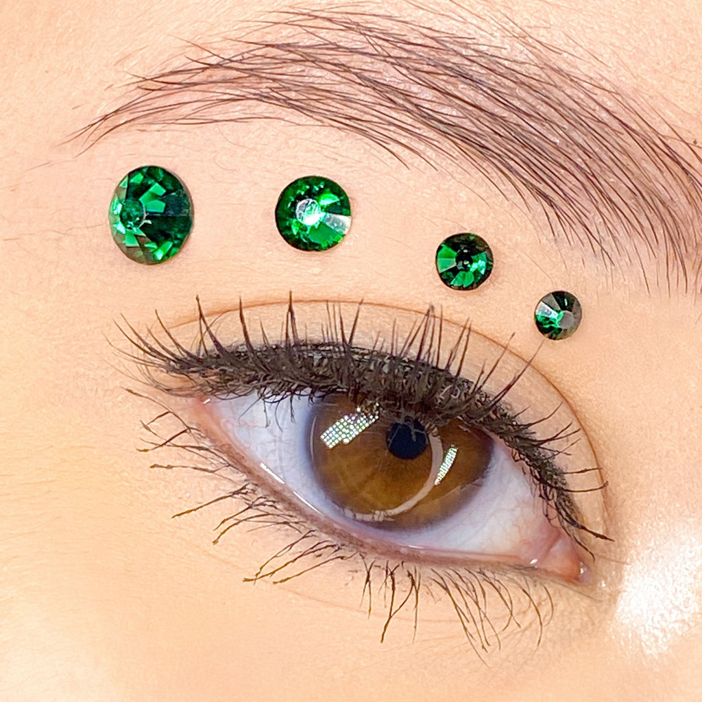 Green Gems for makeup | Green Rhinestones for makeup | Green Swarovski Rhinestones | Green Flatback Rhinestones | Euphoria Face Jewels | Glass Rhinestones | High Quality Gems