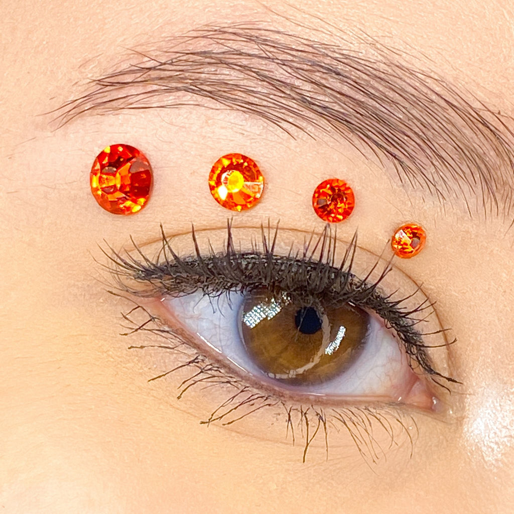 Orange Gems for makeup | Orange Rhinestones for makeup | Orange Swarovski Rhinestones | Orange Flatback Rhinestones | Euphoria Face Jewels | Glass Rhinestones | High Quality Gems
