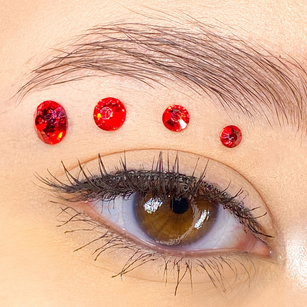 Red Gems for makeup | Red Rhinestones for makeup | Red Swarovski Rhinestones | Red Flatback Rhinestones | Euphoria Face Jewels | Glass Rhinestones | High Quality Gems