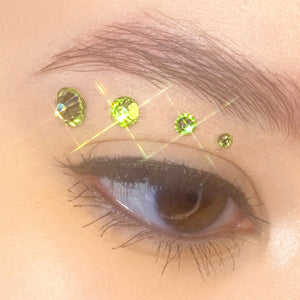 """Matcha"" Jemme Quad - Light Green Rhinestones"