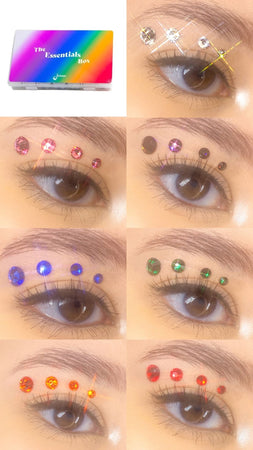 Multi Color Rhinestone Variety Pack. Includes the following rhinestone and face gem shades: Crystal Clear Rhinestones, Pink rhinestones, Purple rhinestones, blue rhinestones, green rhinestones, orange rhinestones, and red rhinestones. Rhinestones for makeup use.