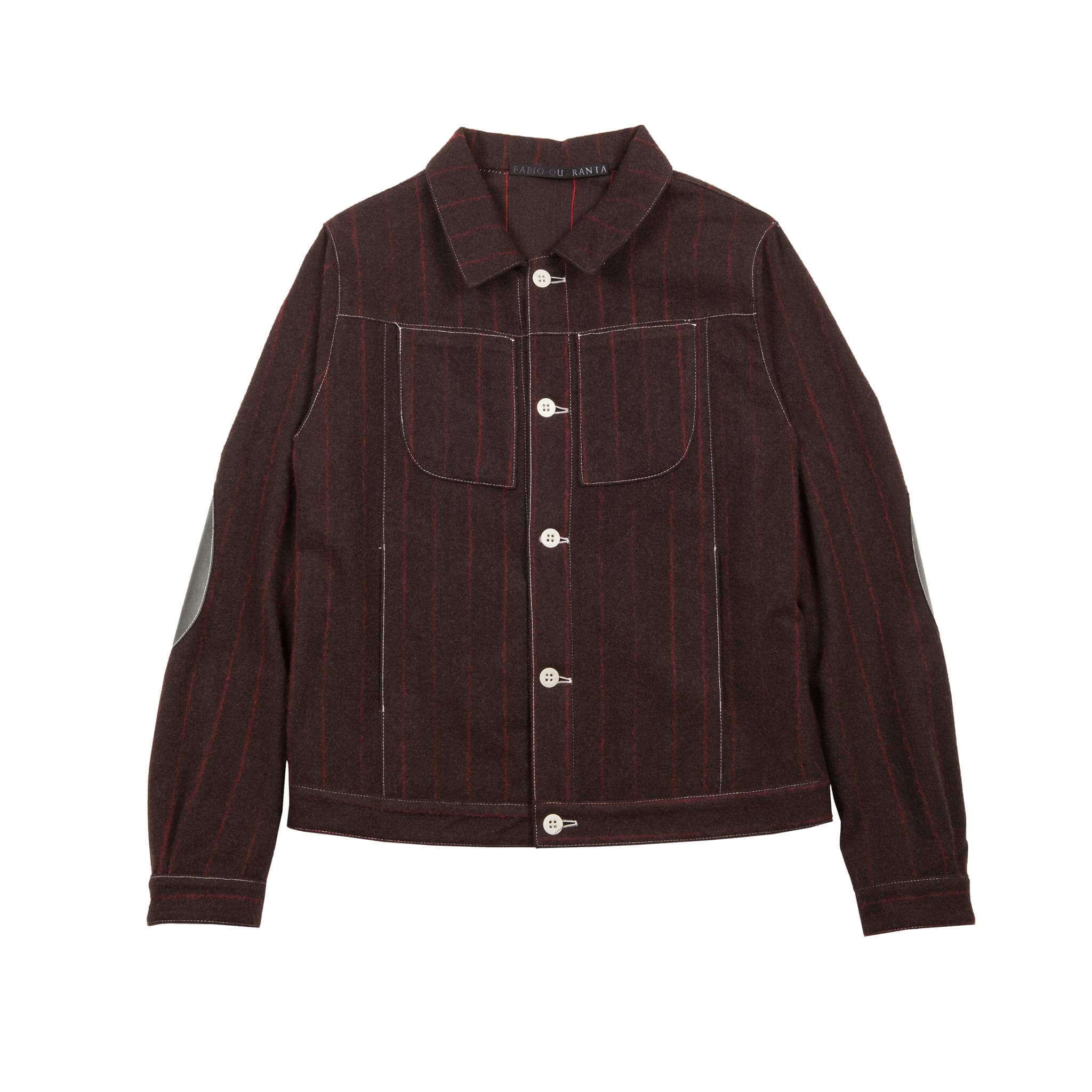 BROWN WOOL AND CASHMERE PINSTRIPE TRUCKER JACKET 1 of 1