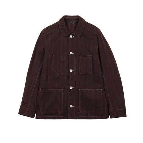 BROWN WOOL AND CASHMERE PINSTRIPE UNIFORM JACKET 1 OF 1