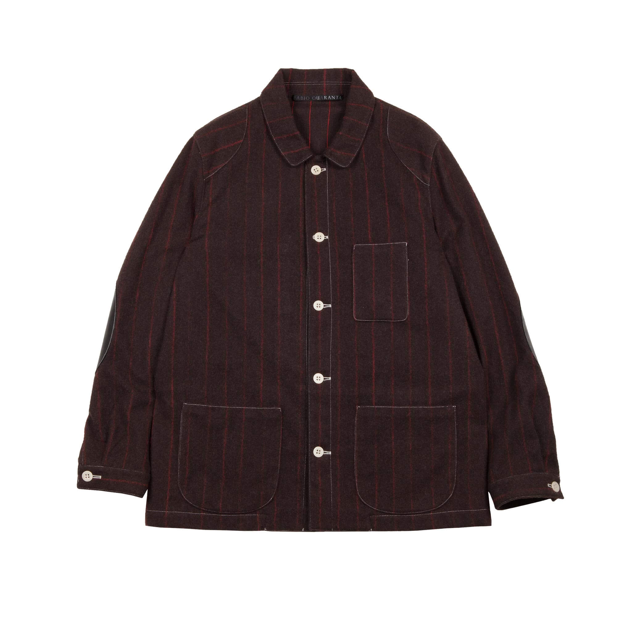 BROWN WOOL AND CASHMERE PINSTRIPE WORKER JACKET 1 OF 1