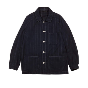 BLUE WOOL AND CASHMERE PINSTRIPE WORKER JACKET 1 of 1