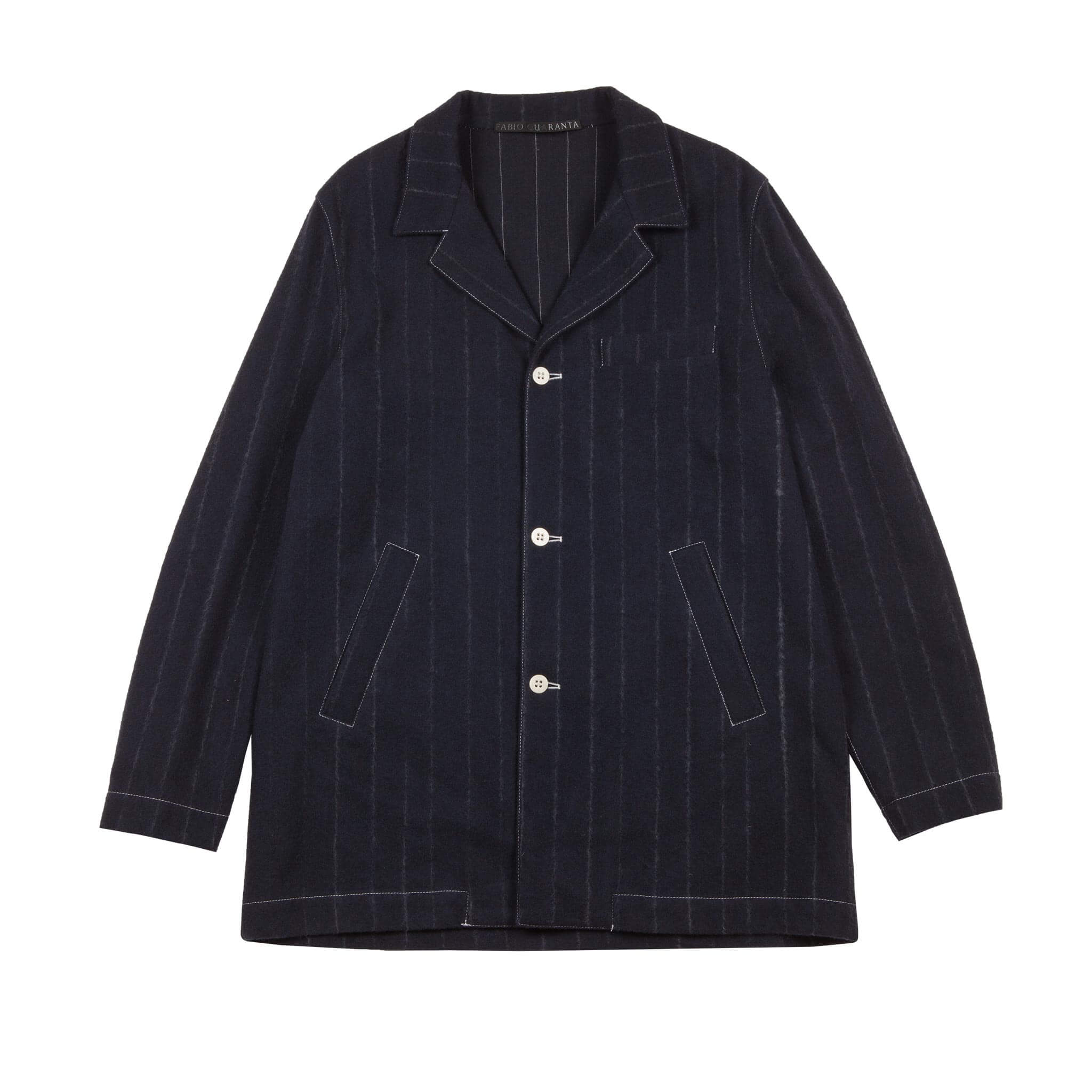 BLUE WOOL AND CASHMERE PINSTRIPE OVERSIZE JACKET 1 of 1