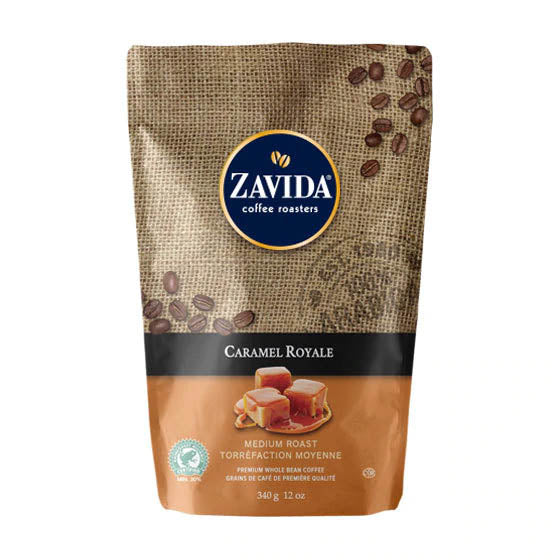 Zavida 12oz Caramel Royale Flavoured Whole Beans
