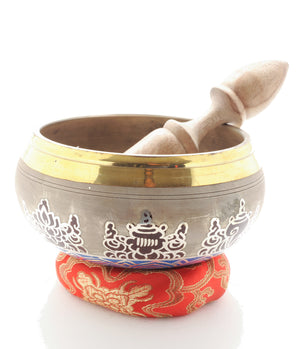 Hand Painted Meditation Buddha Singing Bowl Set (includes Cushion & Striker)