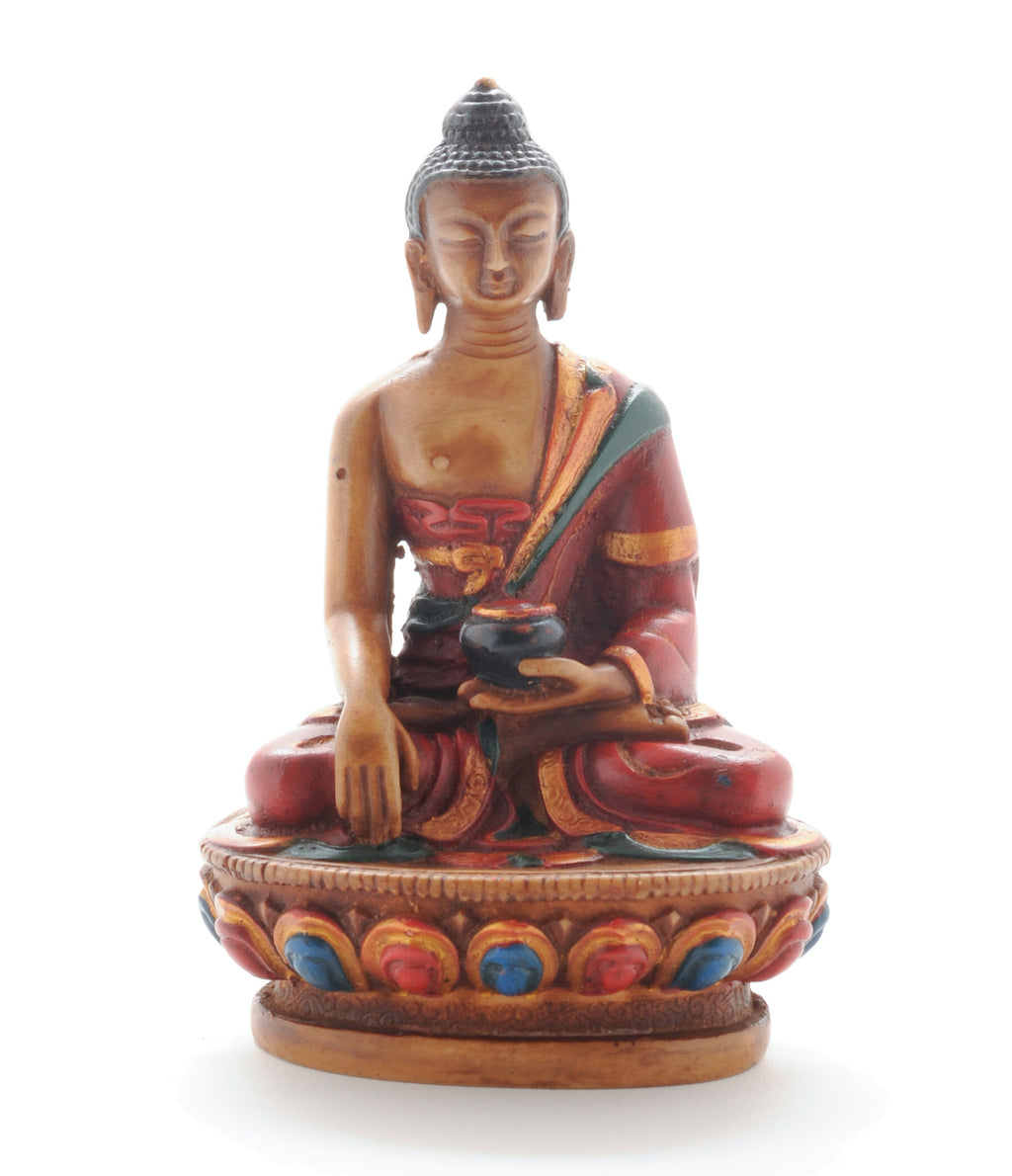 "4.5"" Golden Brown Resin Gautama Buddha (Shakyamuni) Statue in Bhumis Parsa Mudra"