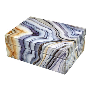 Marble-Like Finished Glass Keepsake Box (Small, Large)
