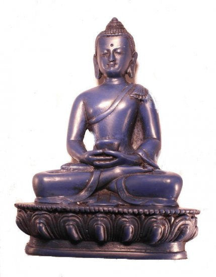 "5.5"" Resin Meditation Buddha Statue - Lapis Blue"