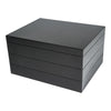 Black Lacquered Wood Multi Level Stackable Jewelry Box With Optional Add-on Tray