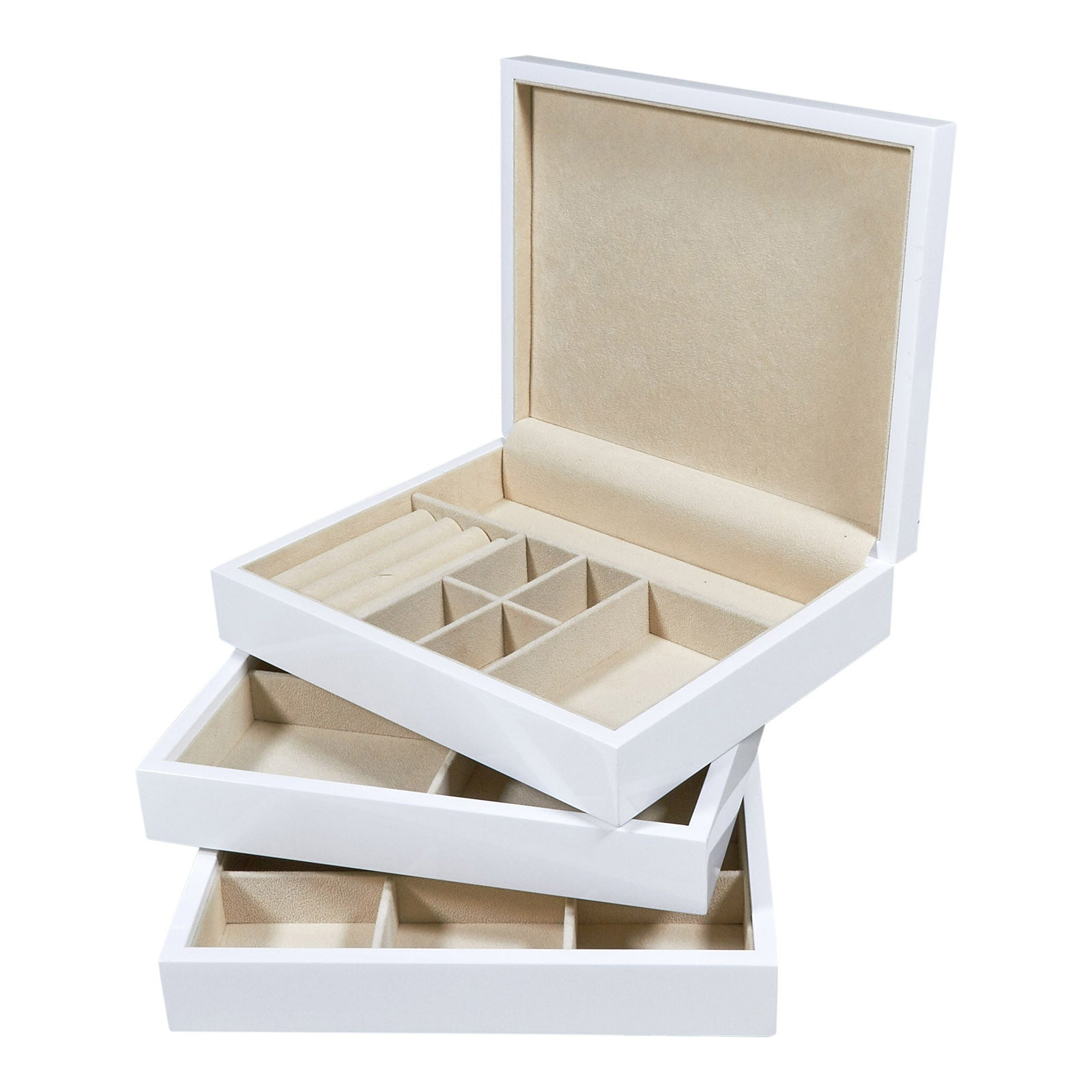 White Lacquered Multi Level Stackable Wood Jewelry Box And Optional