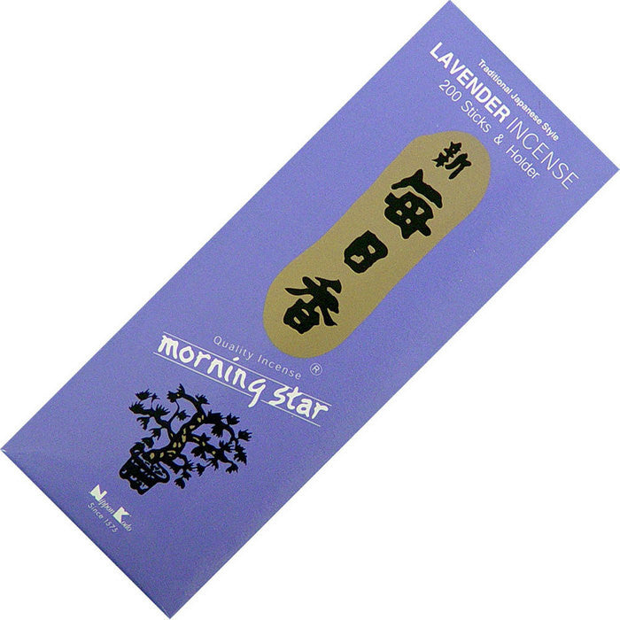 Traditional Japanese Lavender Incense - 200 Sticks & Holder - Morning Star by Nippon Kodo