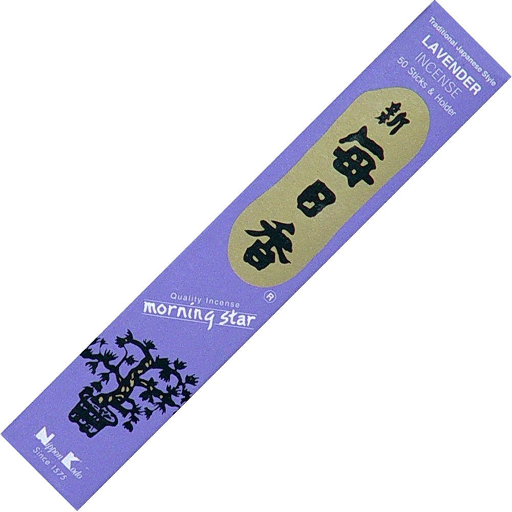 Traditional Japanese Lavender Incense - 50 Sticks & Holder - Morning Star by Nippon Kodo