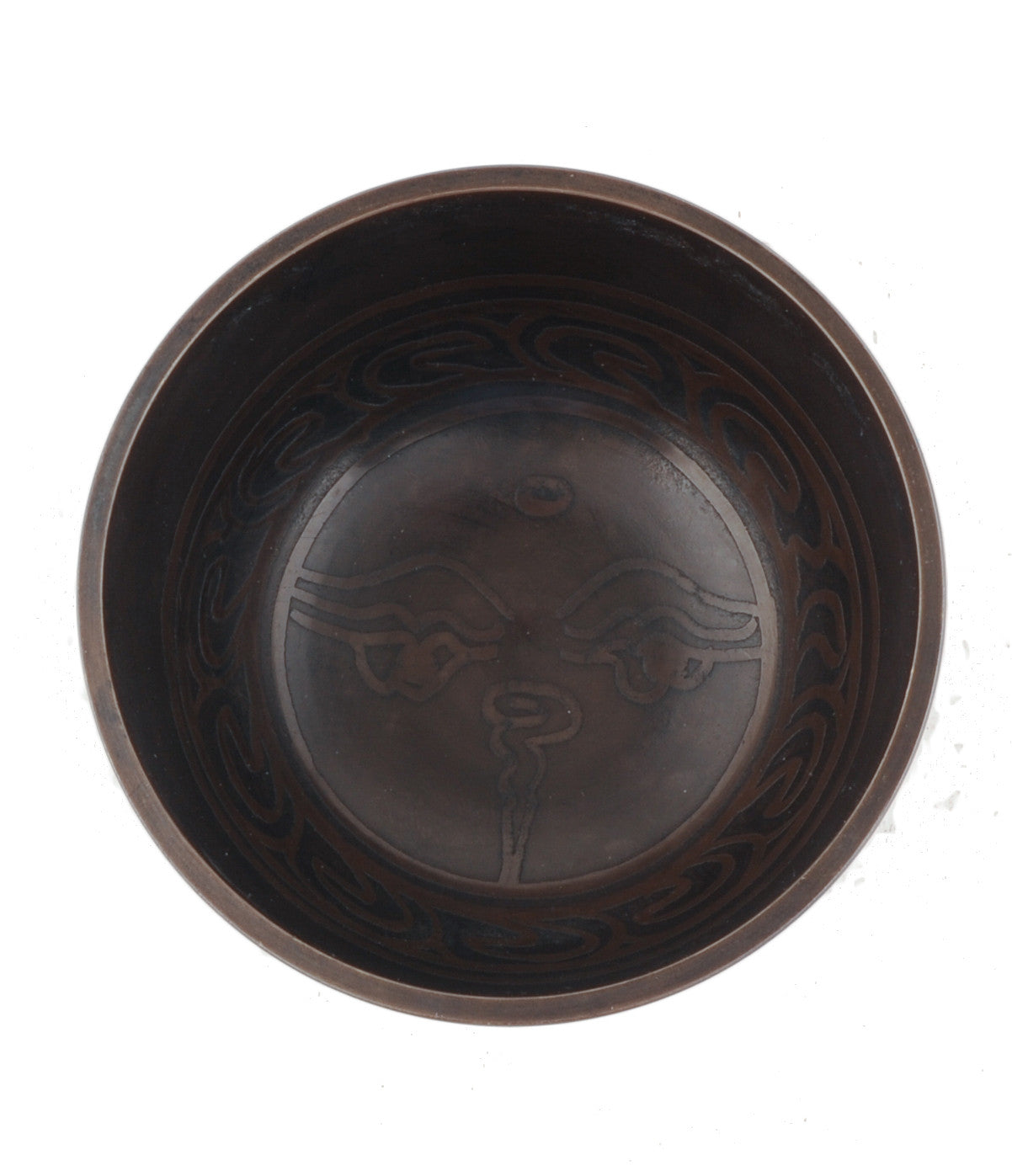 Singing Bowl Gift Set - Om Mani Padme Hum in Tibetan Characters with Eye of Buddha Inside and Endless Knot Underneath
