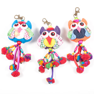 Green Owl Zipper Pull With Pom-Poms (Thailand)