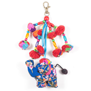 Blue Elephant Zipper Pull With Pom-Poms (Thailand)