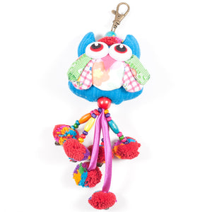 Blue Owl Zipper Pull With Pom-Poms (Thailand)