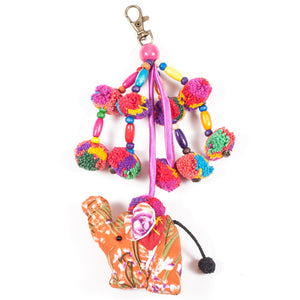 Orange Elephant Zipper Pull With Pom-Poms (Thailand)