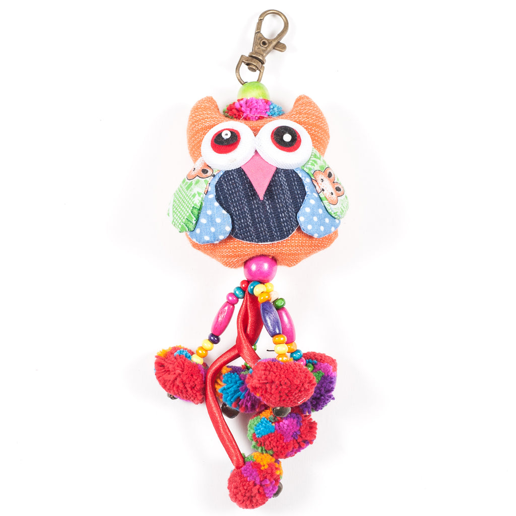 Orange Owl Zipper Pull With Pom-Poms (Thailand)