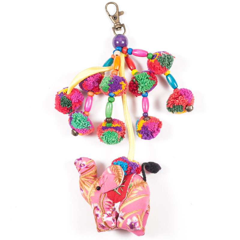 Pink Elephant Zipper Pull With Pom-Poms (Thailand)