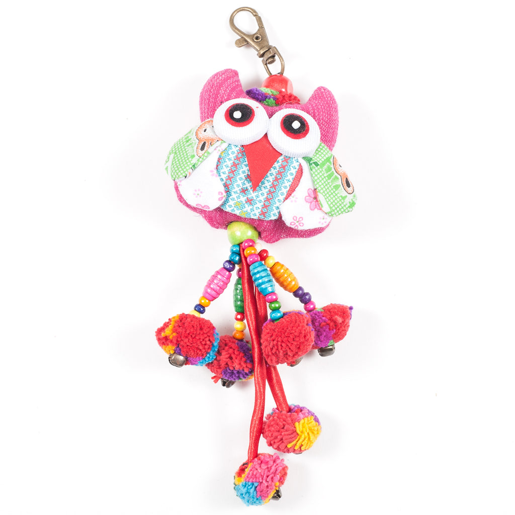 Pink Owl Zipper Pull With Pom-Poms (Thailand)