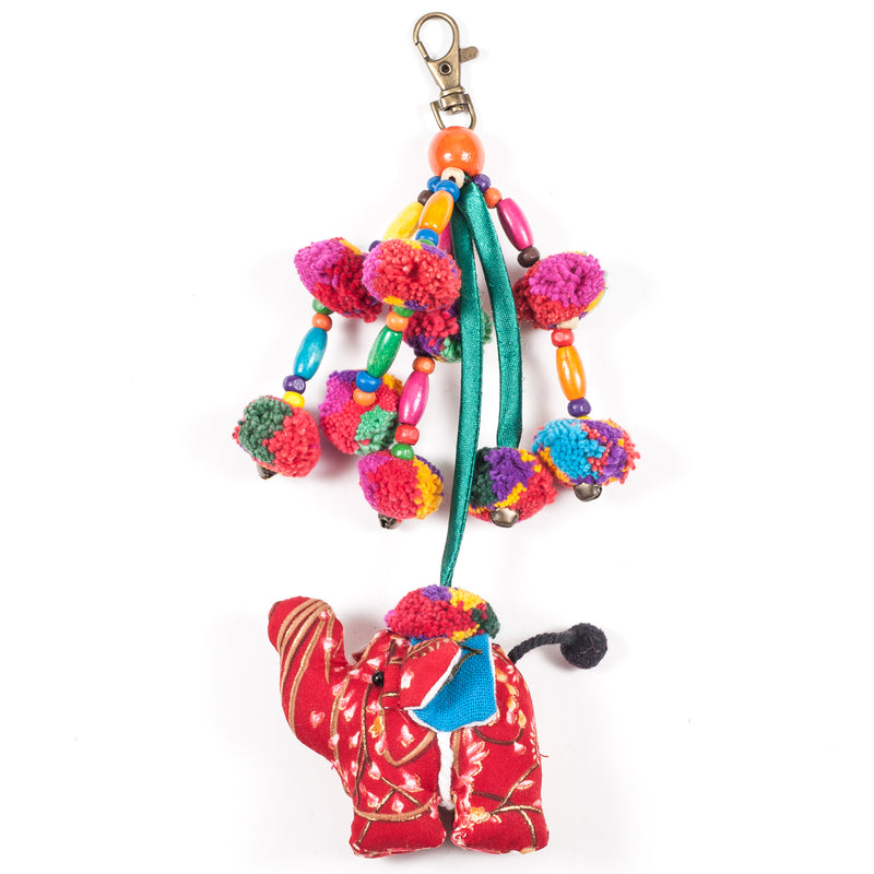 Red Elephant Zipper Pull With Pom-Poms (Thailand)