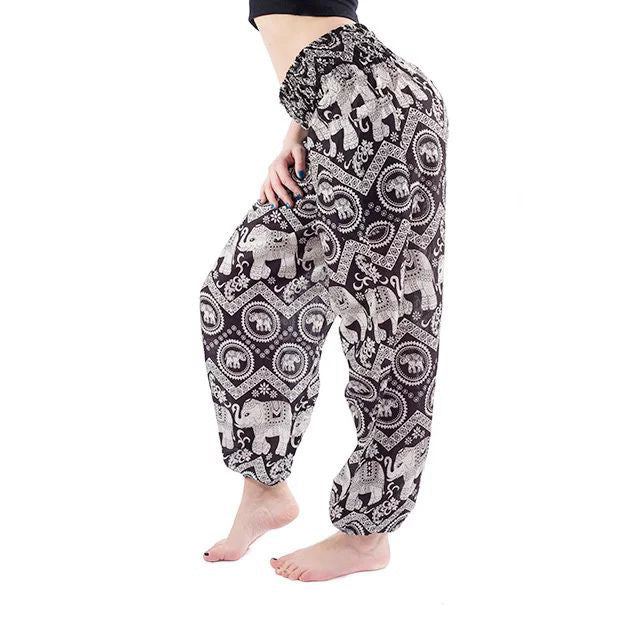 Black Elephant Print Yoga Pants
